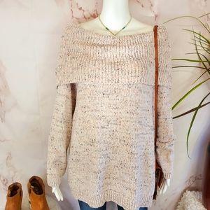 NWT Lauren Conrad wide cowl neck soft knit sweater